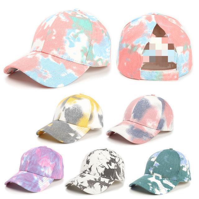 6 Renkler Kravat-Boya At Kuyruğu Beyzbol Şapkası Dağınık Bun Şapka Kadınlar Için Yıkanmış Pamuk Snapback Caps Casual Yaz Güneş Visor Açık Şapka