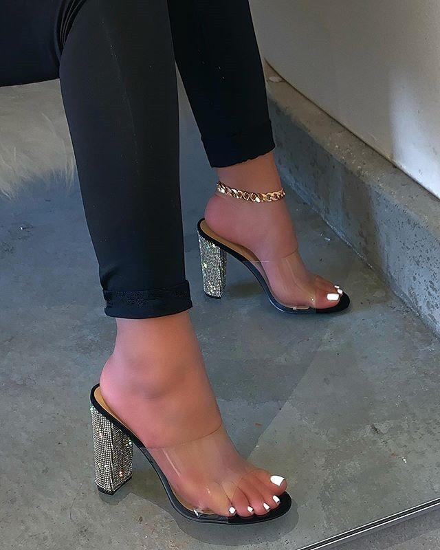 Fashion luxurious Rhinestone high heels Women Transparent Sandals Ladies Rubber Sexy Party Heel Platform Slippers