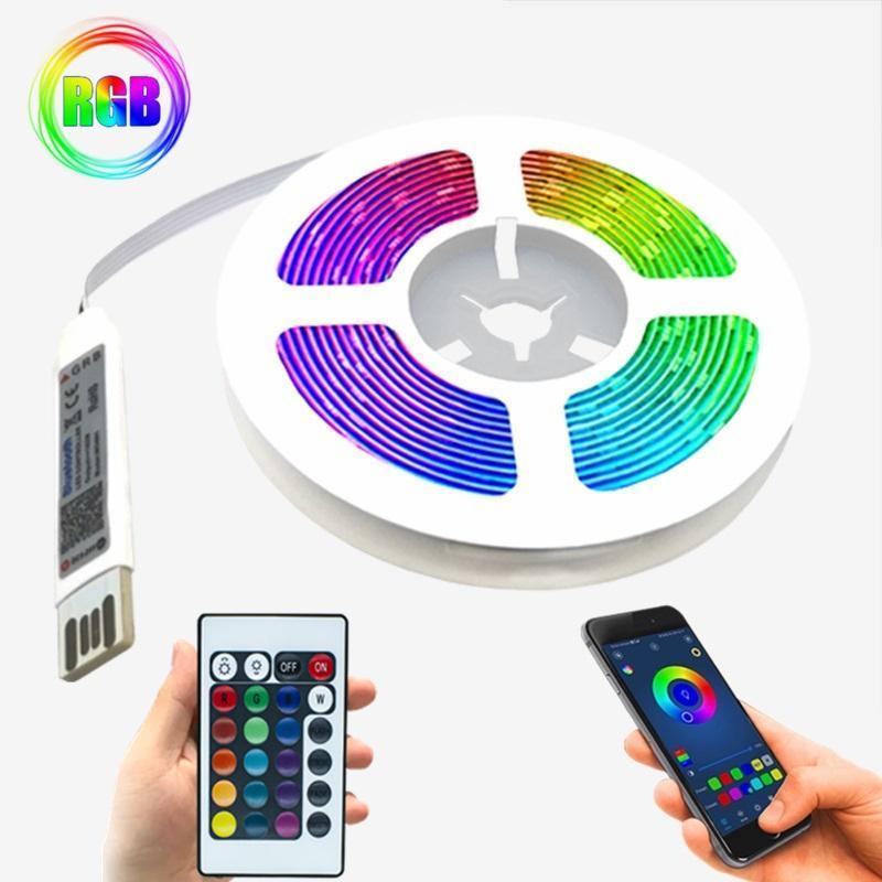 LED 스트립 빛 DC5V USB 케이블 리본 조명 블루투스 모델 IR 원격 컨트롤러 장식 침실 빛나는 램프