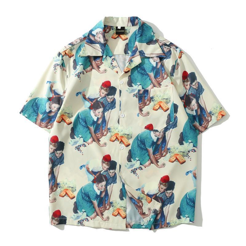 Sommer Strand Stil Übergröße Hemd Männer Frauen Mode Kinder Print Hawaiianische Bluse Männliche Kurzarm Plus Size Tops Männer Lässige Hemden