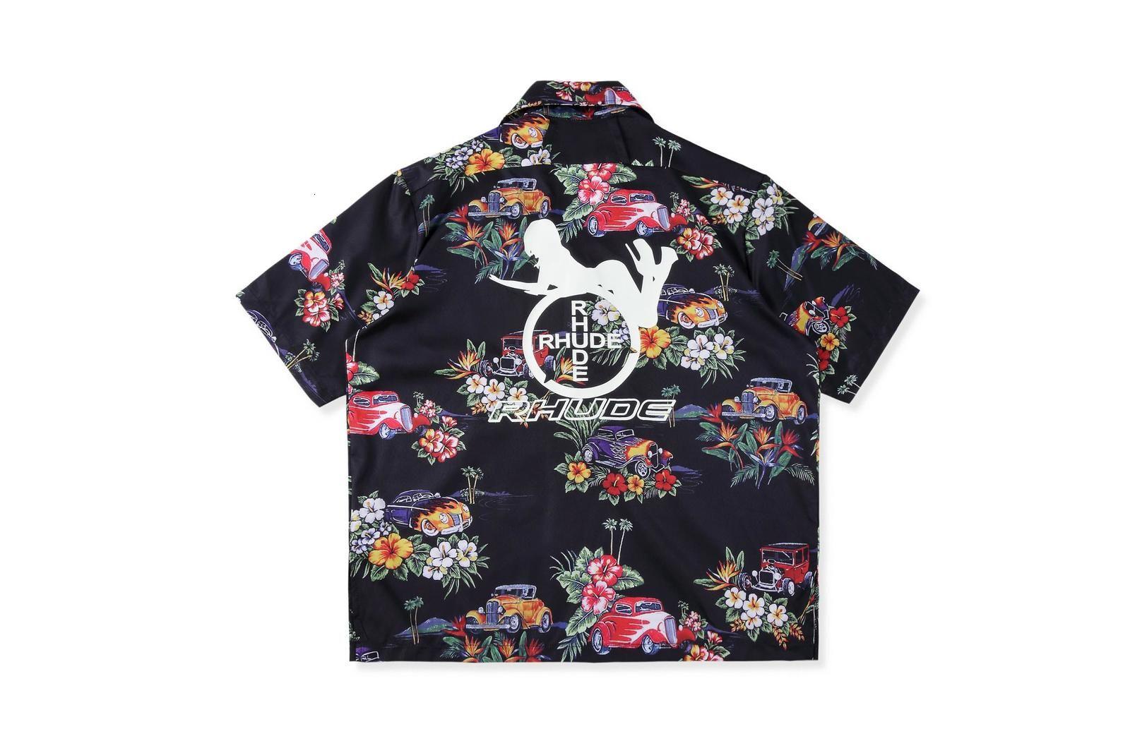 19SS Hawaiian 1: 1 Üst versiyonu tişört erkekler kadınlar streetwear hip hop casual rhude gömlek kısa kollu