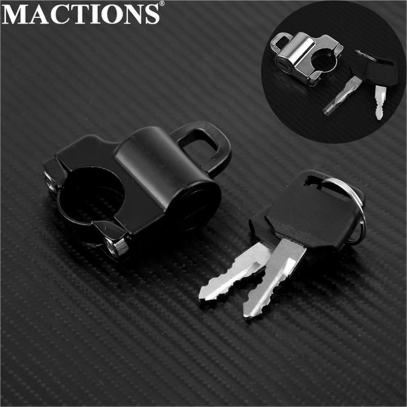 "Protección contra robo Motocicleta Univessal Casco de bloqueo de bicicletas Colgando llaves de gancho conjunto Aleación cromo / negro personalizado con accesorios de barras de 7/8 """