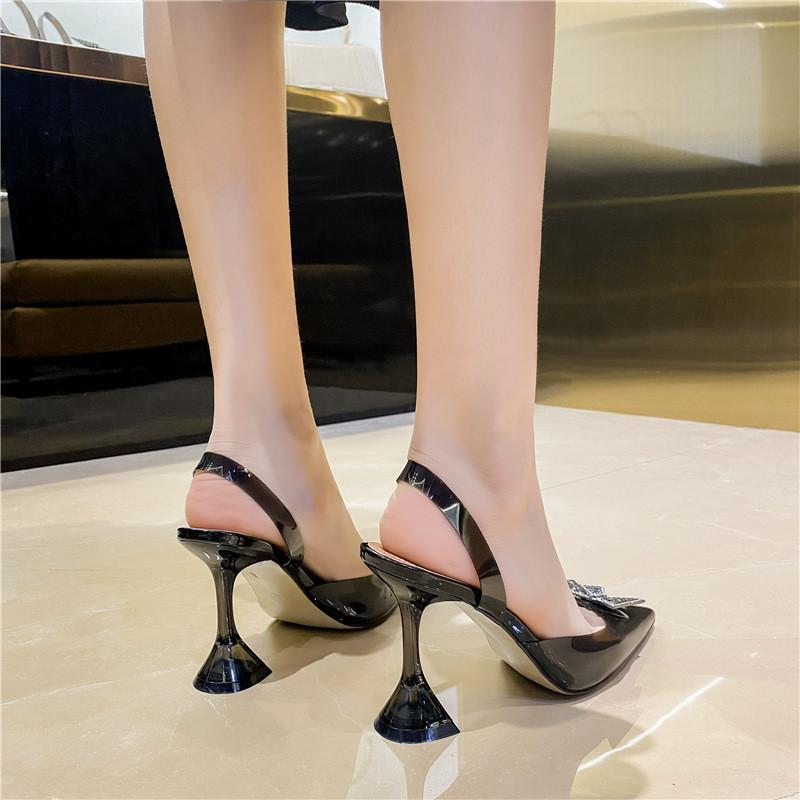 Eilyken 크기 34-45 여름 나비 - 매듭 여성 펌프 패션 이상한 스타일 Tranaparent 여성 힐 신발 결혼식 샌들 Dgjedthysg