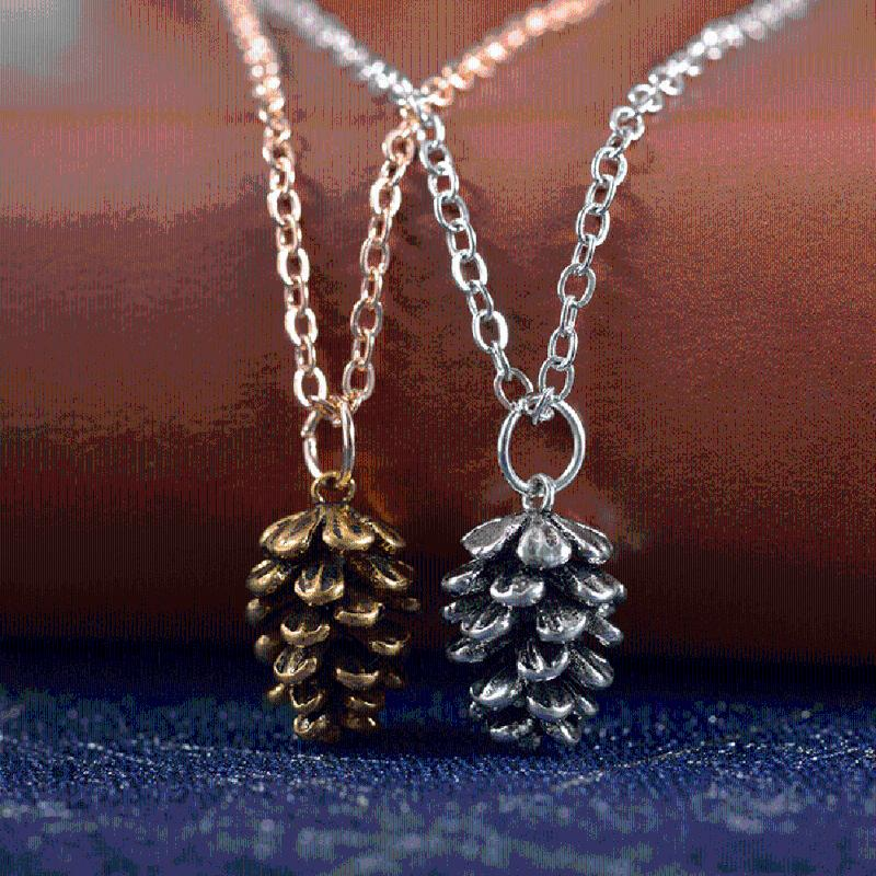 Kiefernnüsse Halskette Legierung Alte Bronze Herbarium Anhänger Clavicle Kette Choker Für Damen Mode Pullover Zubehör Schmuck Chokers