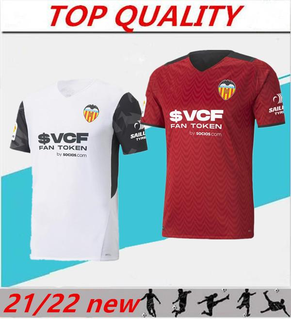 2021 2022 Valencia Soccer Jerseys Camiseta de Fútbol 21/22 Rodrigo Parejo Kang dans Gameiro Gaya Garded Chemise de football C.Soler