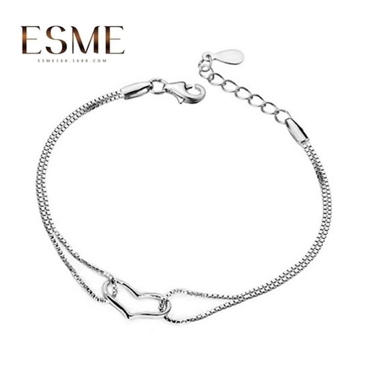 Los anillos de compromiso de los pendientes del diseñador, las pulseras y los collares de oro son los favoritos de las mujeres enlazan, cadena de joyas coreanas en forma de corazón con doble línea de amor con incrustaciones de amor
