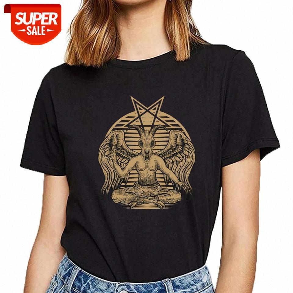 T-shirt das mulheres Baphomet Satango Oculto Diabo Lucifer Símbolo Presente Em quadrinhos Inscrições Curto feminino camisa festa # xm3h