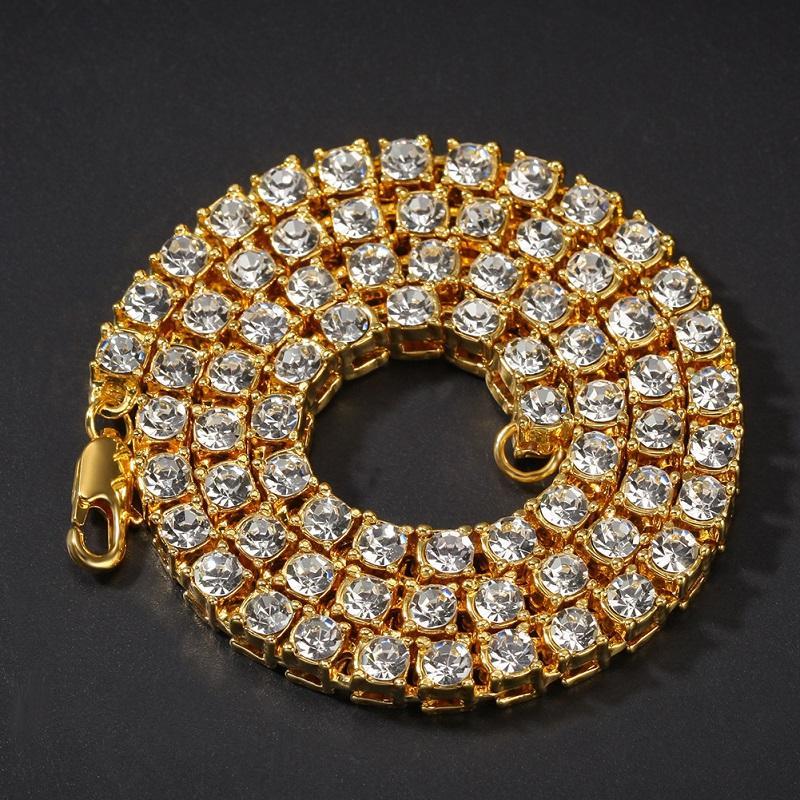 Collier de la chaîne glacé de la mode Link strass Tennis Chaînes de tennis Hip hop bijoux pour hommes Femmes 16/18/20 / 24 / 30inch Accessoires de cou