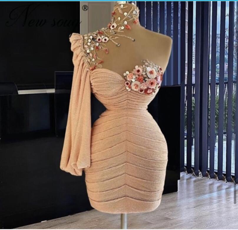 Kısa Gelinlik Modelleri Yüksek Boyun Çiçekler Ile Boncuk Pick Ups Bir Omuz Abiye giyim Custom Made Yong Kızlar Örgün Kokteyl Parti Elbise Doğum Günü Için
