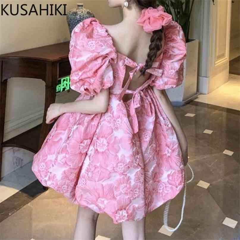 Süße Jacquard-Kleider für Frauen Puff Sleeve Square Kragen Koreanische Hohe Taille Fliege Backless Vestidos 6H698 210603