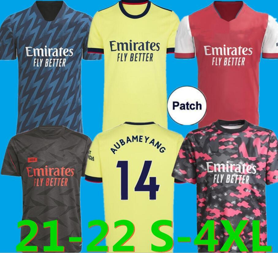 21 22 Arsen Soccer Jersey بعيدا الأصفر Camisa Gunners Pepe Saka Tomas Willian Nicolas كرة القدم قمصان 2021 2022 حجم S-4XL الجوارب ODEGAAR