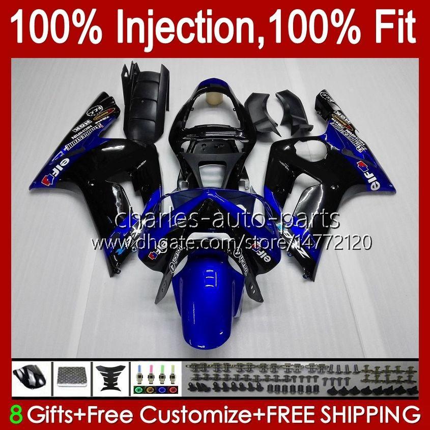 Injection Mold Kit For KAWASAKI NINJA ZX-636 ZX600 ZX 6R 6 R 600 CC 03-04 Body 8No.10 ZX 636 600CC ZX6R 03 04 ZX600C ZX636 ZX-6R 2003 2004 Fairing OEM Bodywork factory blue