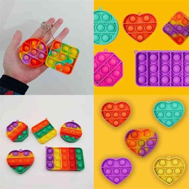 Chaveiro Anel Push Pop Fidget Bubble Keychain Dos Desenhos Animados Toys Sensory Toys Fidgets Puzzle Squeeze Ball Stress Relief G36JFYV