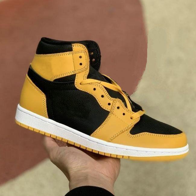 Jumpman 1 Yüksek OG Erkek Ayakkabı Siyah Sarı Eğitmenler Spor Sneakers 1 S Pollen Basketbol Ayakkabıları