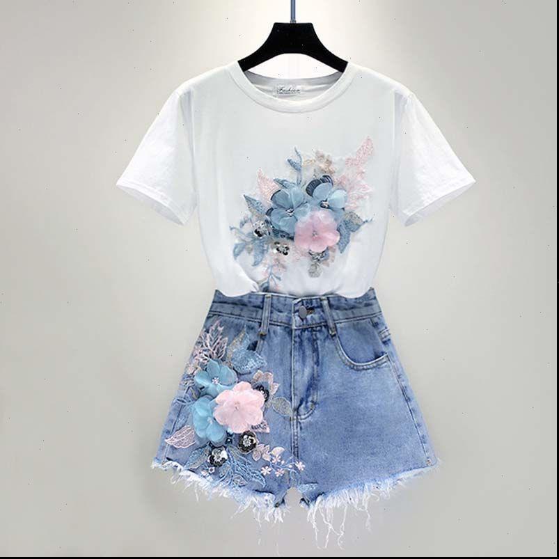 유럽 여자 Tracksuits 여성 두 조각 세트 자수 3D 꽃 목화 청바지 세트 여름 짧은 소매 탑 티셔츠 2pcs