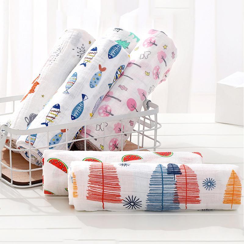 Coperta del tovagliolo di garza stampata del bambino di cotone