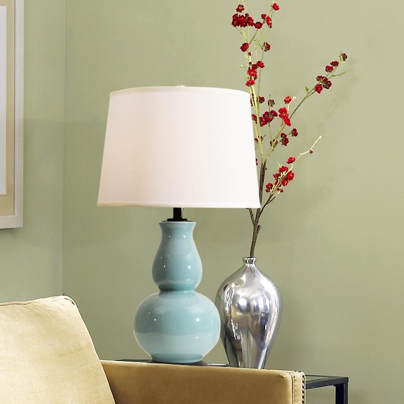 الجدول مصابيح الأمريكية الرجعية بسيطة البلاد الأزرق القرع السيراميك مصباح غرفة المعيشة دراسة غرفة نوم السرير أضواء الليل الزخرفية