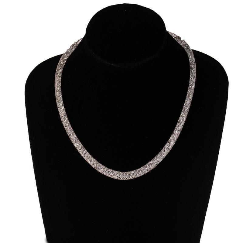 3 цветов моды ювелирные изделия кристалл проволочная сетка чистого комплекса трубки колье цепь внутри bling женщины леди цепи