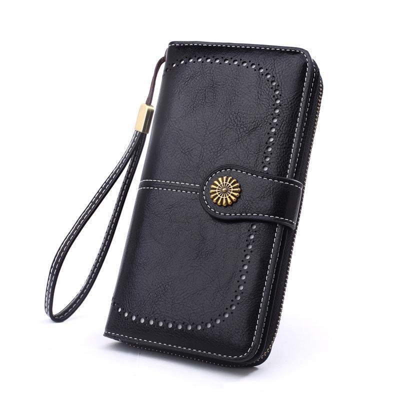 Carteira de couro oco vintage 6 cores saco sólido saco longo mulheres bolsas e cartões venda carteiras de mulher negra