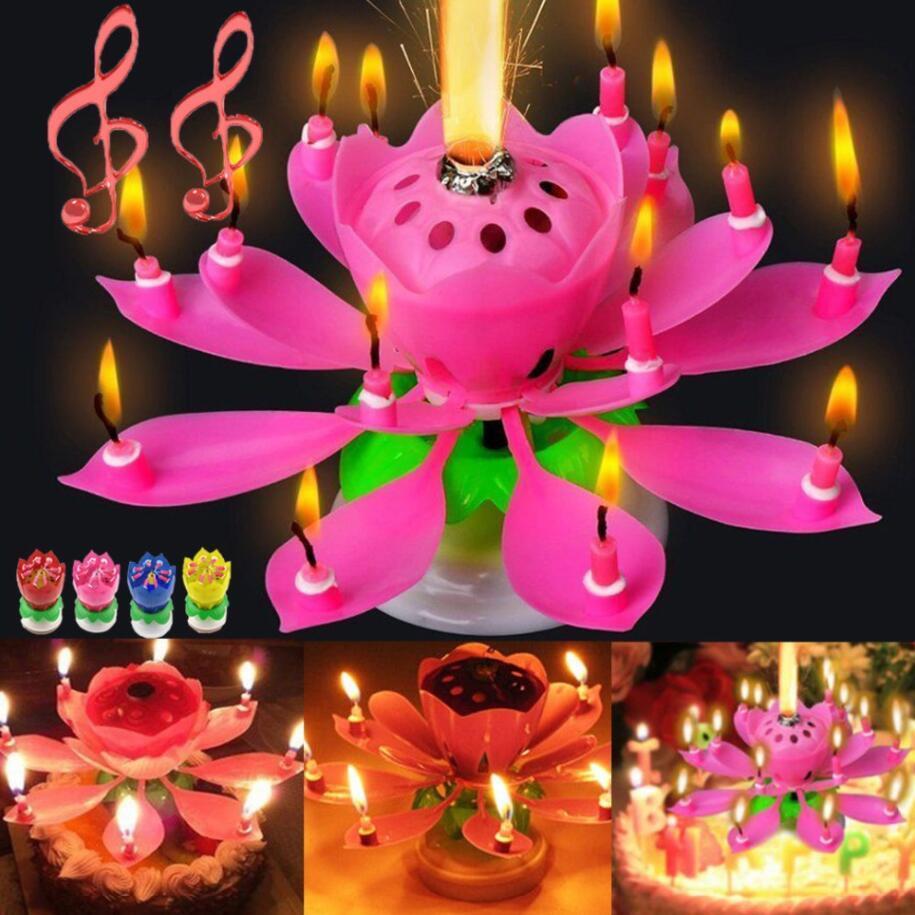 MUSICAL CUMPLEAÑO VELA MÁS MAGICO FLOR VELAS VELAS DE PIEL ROPANTE ROTANDO Vela de fiesta 14 velas pequeñas 2layers Cake Topper Decoración con caja