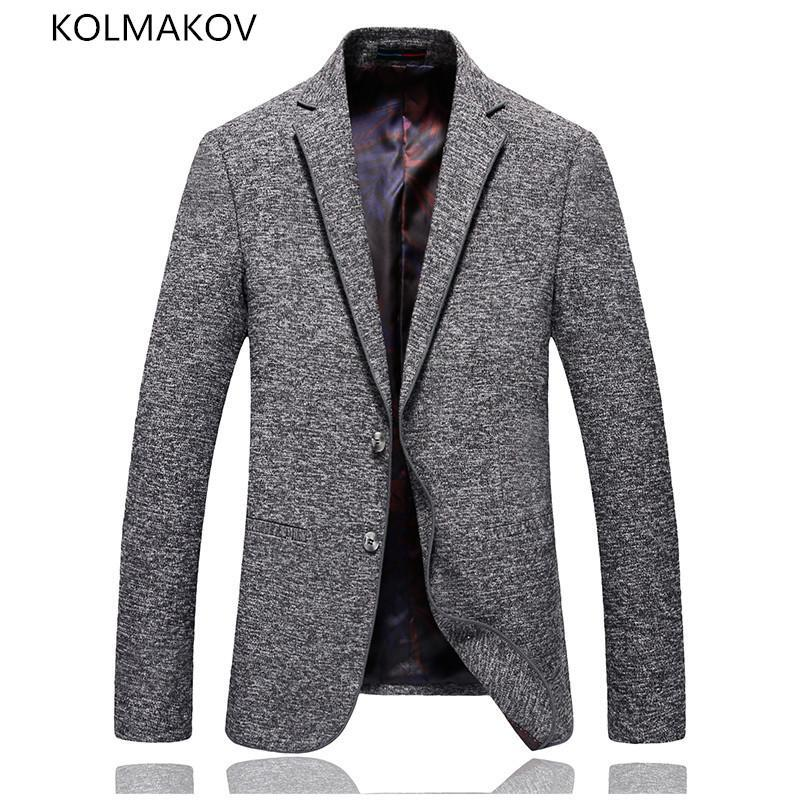 Men's Suits & Blazers Arrived Spring Men Formal Dress Grey Cotton Slim Fit Party Coat Casual Maculino Coats Luxury Outwear Male