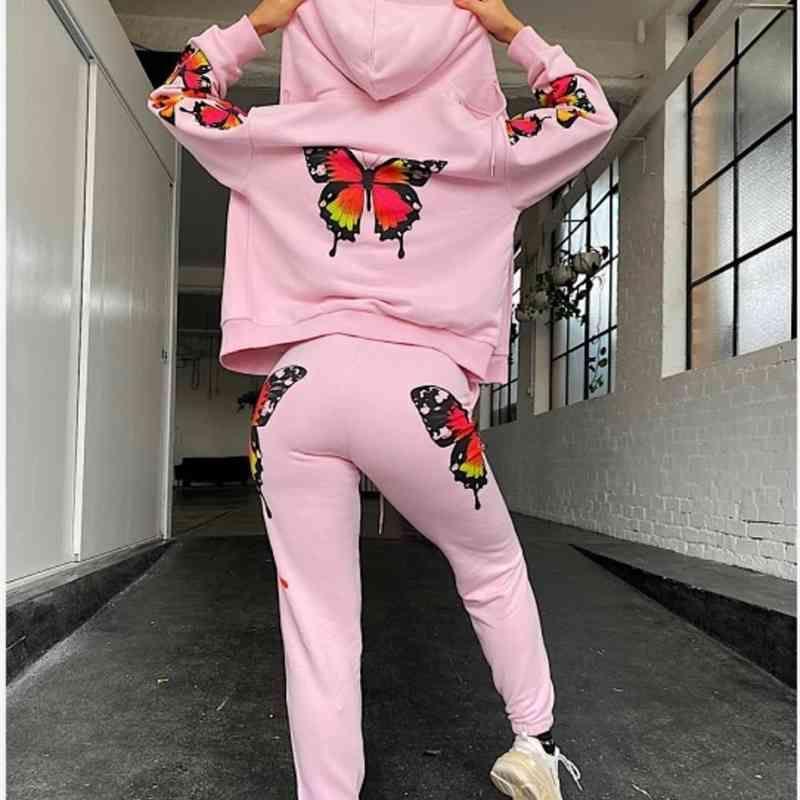 Женский спортивный спортивный костюм в двух частях костюм розовая мода повседневная мягкая бабочка напечатанная куртка грунтовые штаны для женского высокого качества