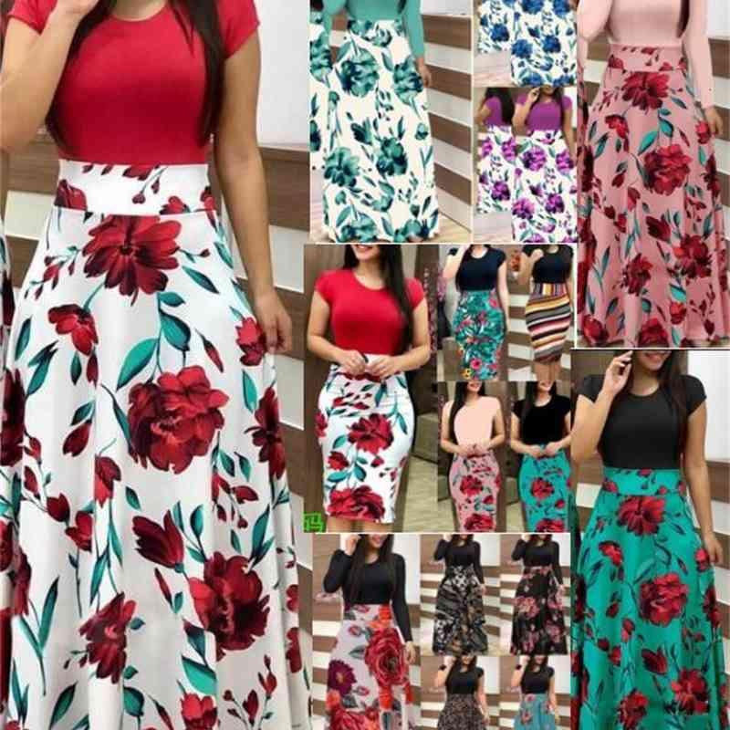 11Colour Abiti casual S-5XL Plus Size Ladies Breve manica lunga Floral Boho Donna Party Bodycon Maxi Abbigliamento