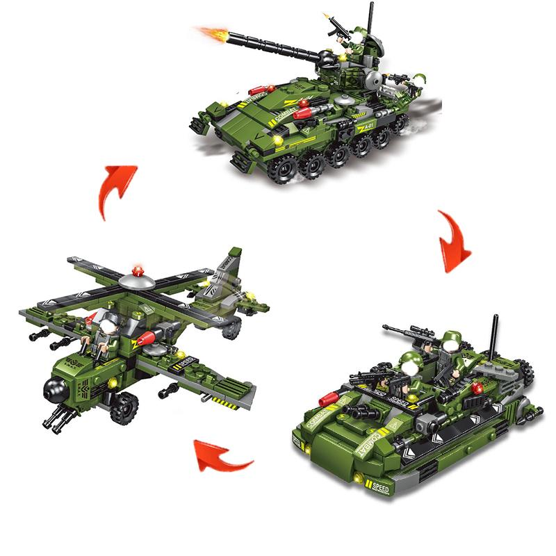 548Pcs Tank Building Block Model Toys Change Building Blocks Childrens puzzle Assembled Toys Toy Tank Helicopter Building toys