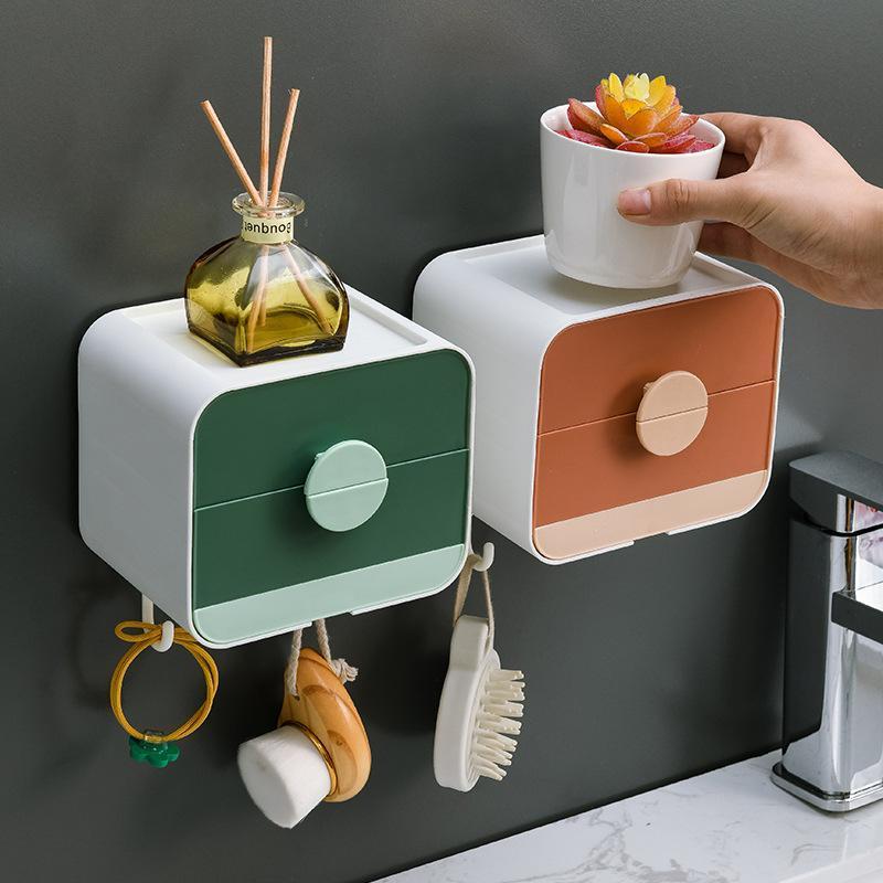 Küchenlagerorganisation Doppelschicht Hängen Seife Korb Rack Ablassen Regal Wand montiert Badezimmer WC Box