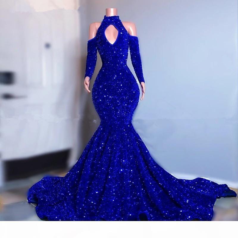 الملكي الأزرق الأنيق زائد حجم فساتين السهرة عالية جوهرة الرقبة الطابق طول اللباس الرسمي مساء ارتداء حفلة موسيقية العباءات الجلباب vestidos
