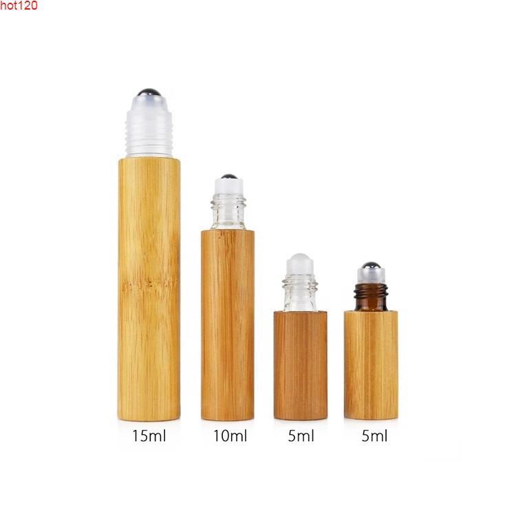 5 ml Taşınabilir Mini Doldurulabilir Parfüm Şişesi 5CCFrost Roller Cam Şişeler Bambu Lidgoods ile Esansiyel Yağ Rulo