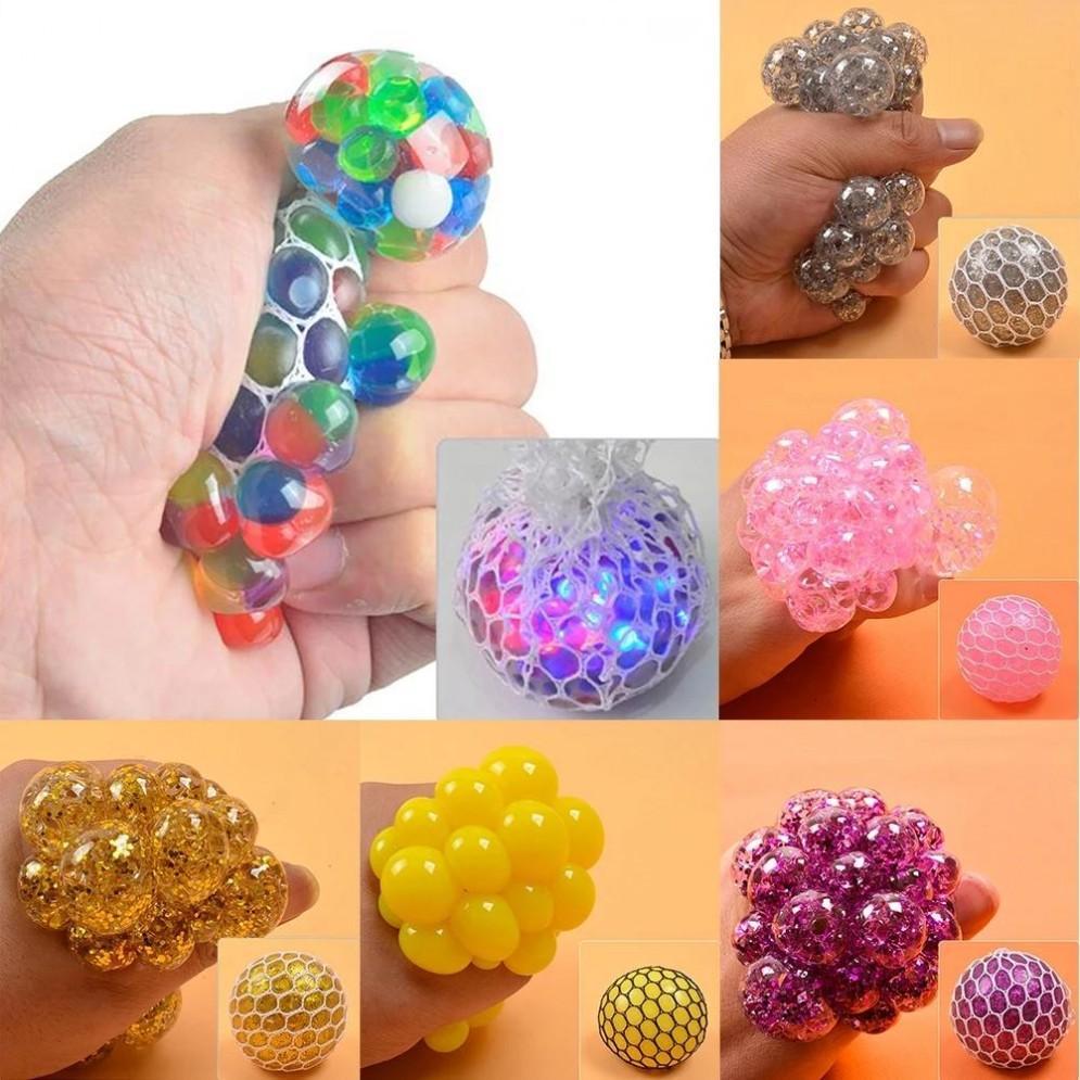 Alivio del estrés Squeeze Balls de uva 6 cm Alivia Bolas de presión Mano Fidget Juguete Rainbow Novely Squeeze Ball Mesh Squishy Bolas