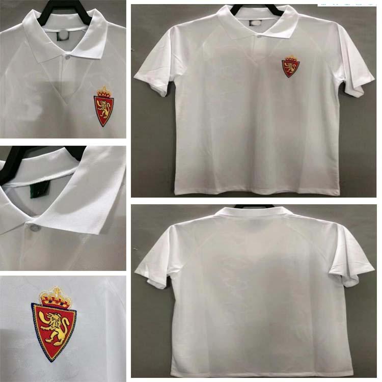1994 1995 Real Zaragoza Retro Jersey 94 95 Poyet Pardeza Nayim Higuera Vintage Futebol Clássico Camisa