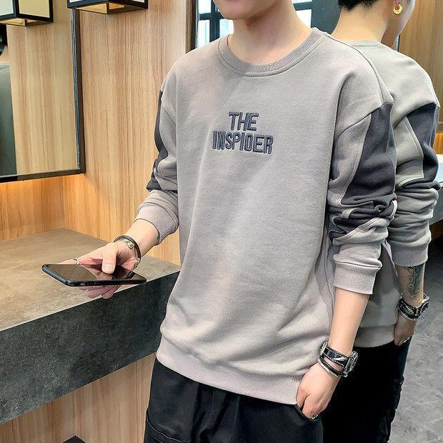 T-shirt a maniche lunghe Maglietta da uomo in primavera Trend Shirt Shirt Brown su Abbigliamento Brand Brand Autunno Abito Abbigliamento allentato uomo Felpe con cappuccio
