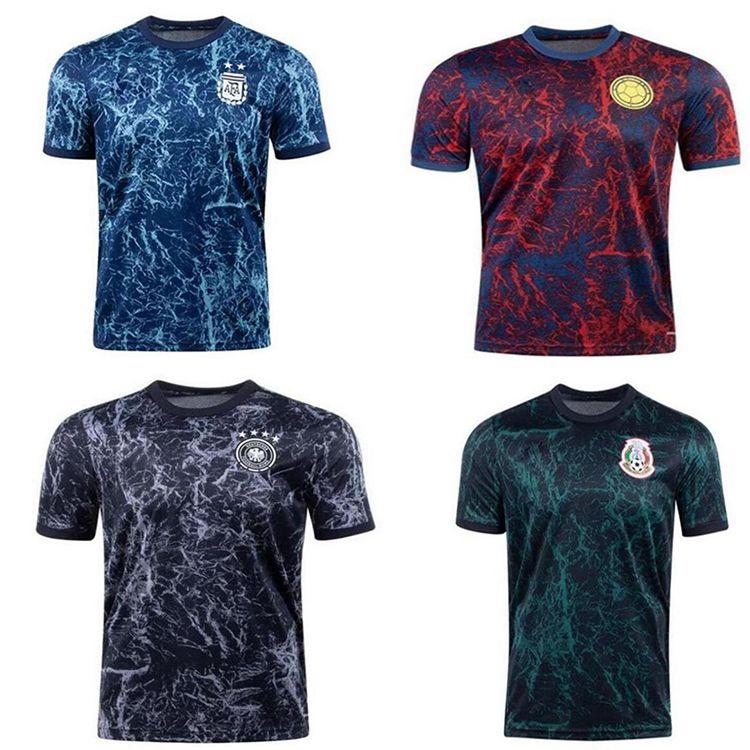 2021 22 México Pré-jogo Treinamento Futebol Jersey Argentina Espanha Alemanha Homens desgaste Colômbia Camisas de futebol