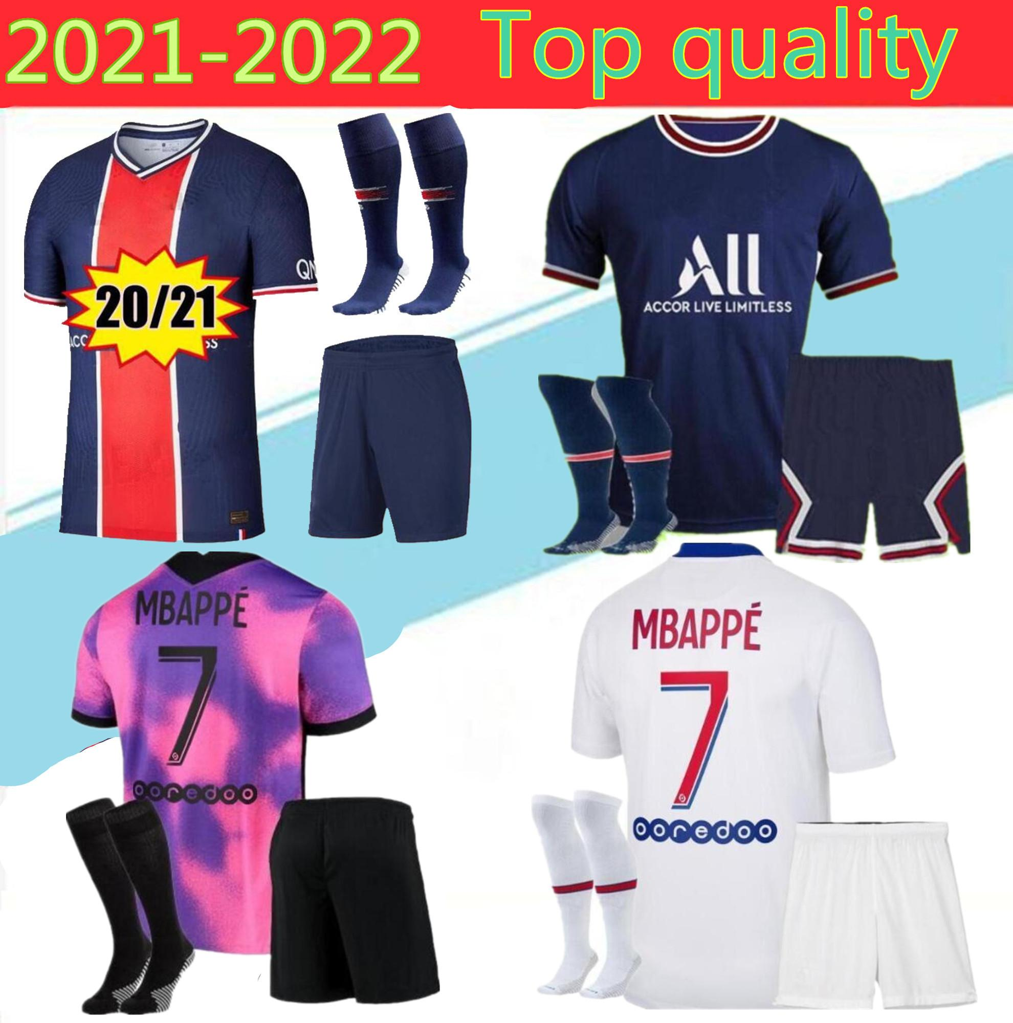 성인 2021 Icardi Mbappe Marquinhos 50T 축구 유니폼 20/21/22 Verratti Men Kimpembe Florenzi Maillots de Football Shirt K