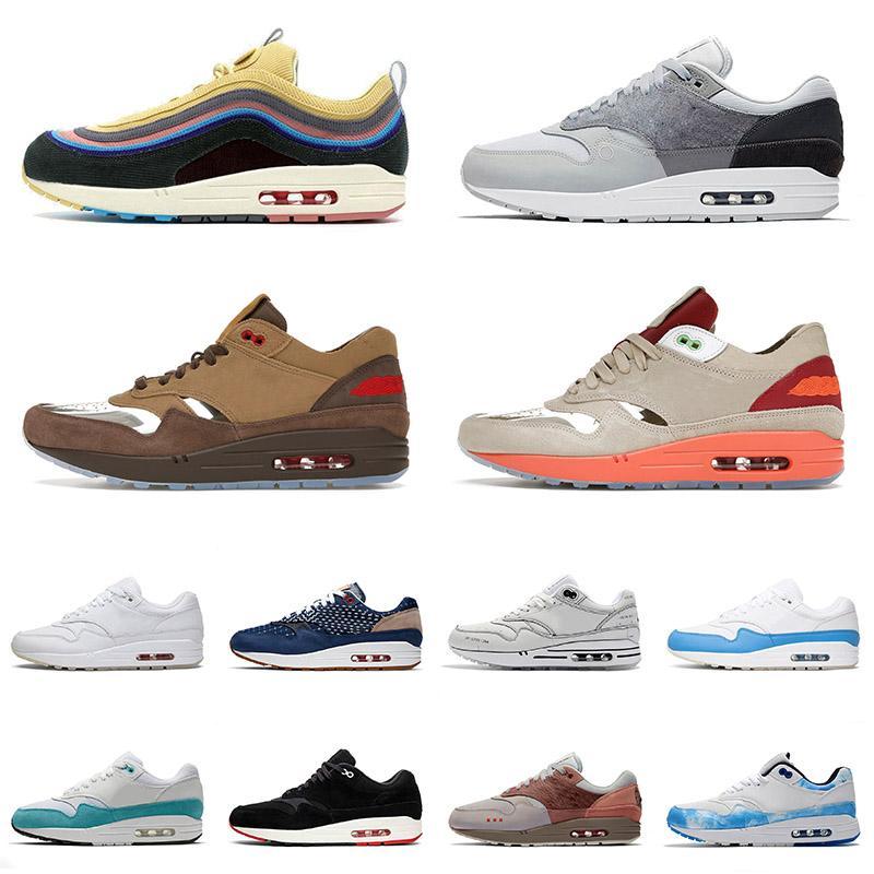 nike air max airmax 1 87 Coussins de qualité supérieure Max 1 87 Chaussures de course Sean Wotherspoon Hommes Femmes University Blue London sportives Airmax Jid Orange Formateurs