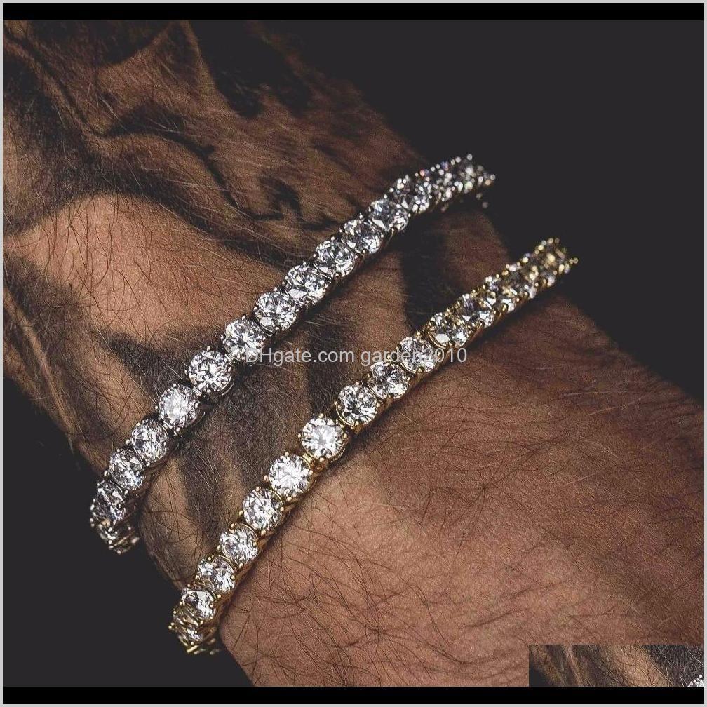 Men Hip Hop Water Drill Bracelet Alloy One Row Diamond Bangle Wristband Arts And Crafts Gifts Home Garden Ha065 Fjaxv 2Tmoj