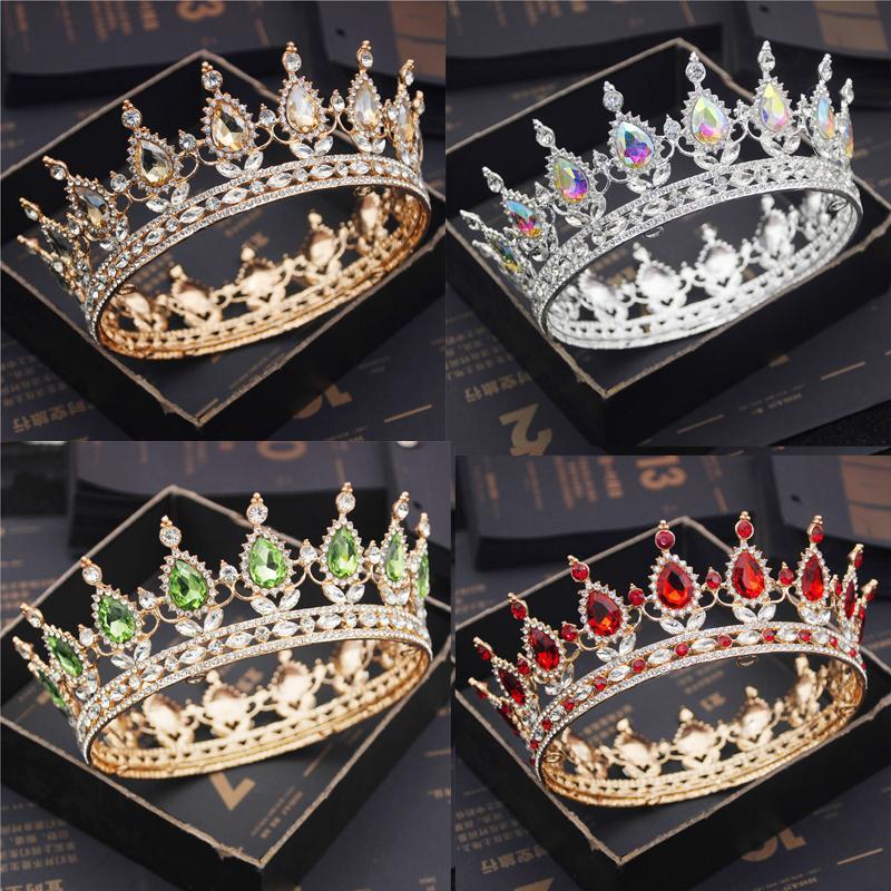 Fashion Bridal Hewpieces Tiaderas e corone Crystal Royal Queen King Corona Capelli da sposa gioielli cerchio cerchio diadem diadema Accessori testa della sposa