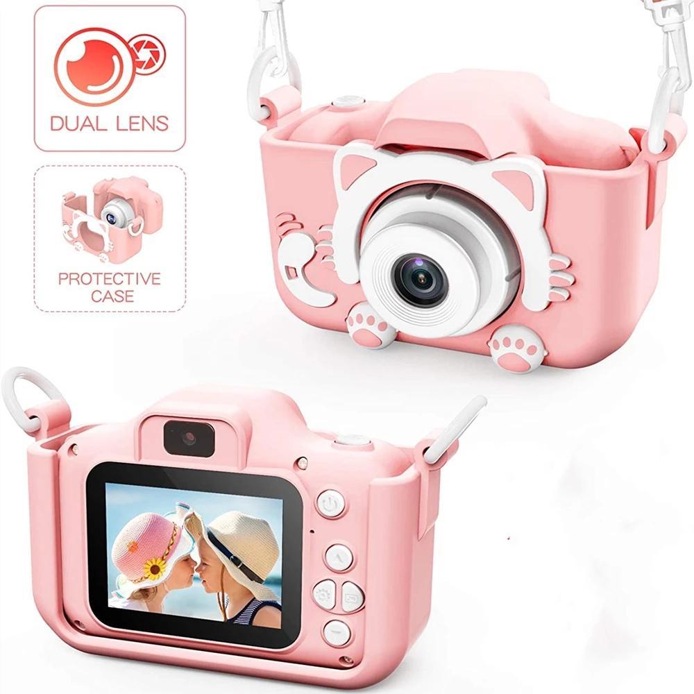 Video Kamera Ön Arka Çocuklar Için Mini Kedi Kamera 1080 P Dijital IPS Ekran Çocuk Kız Erkek Oyuncak Doğum Günü Noel Noel Hediyesi