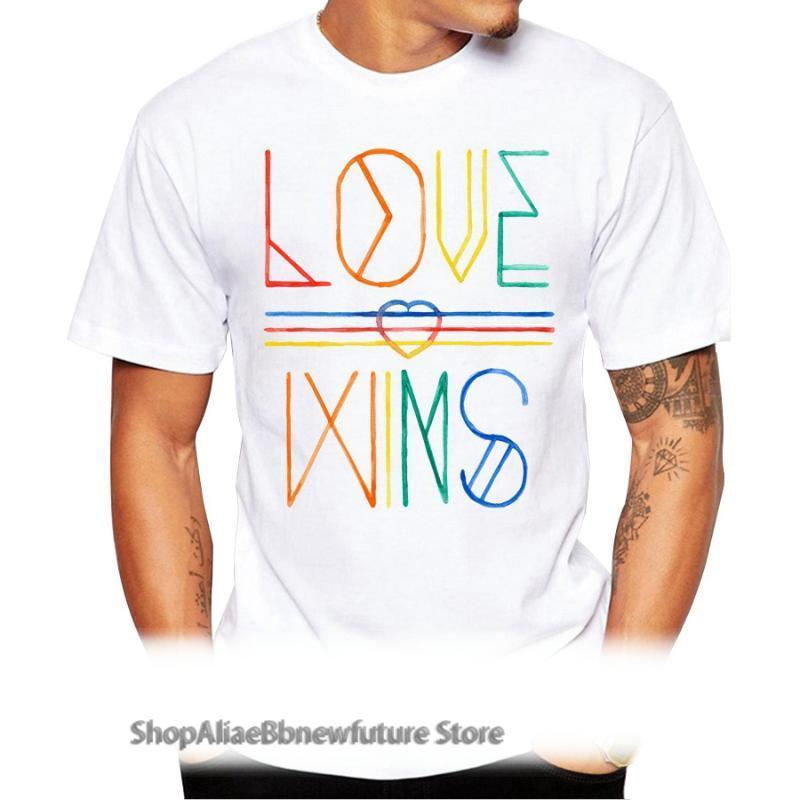 Erkek T-Shirt Moda Aşk Kazandı Tasarım Erkekler T-shirt Kısa Kollu Rahat Hipster Mektup Baskılı T Shirt Komik Cool Tee Tops