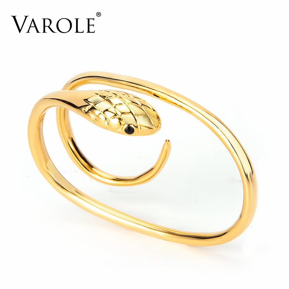 VAROLE Gothic Artificial Snake Rings For Women Gold Color Two Fingers Curved Ring Fashion Jewelry Anillos Mujer