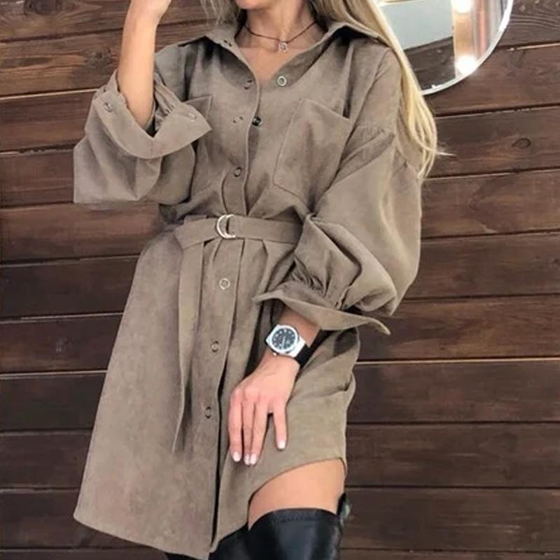 Women Casual Puff Sleeve Fashion Mini Dress Front Buttons Pockets Loose Women DressSolid Color Turn Down Collar Autumn New Dress 210412