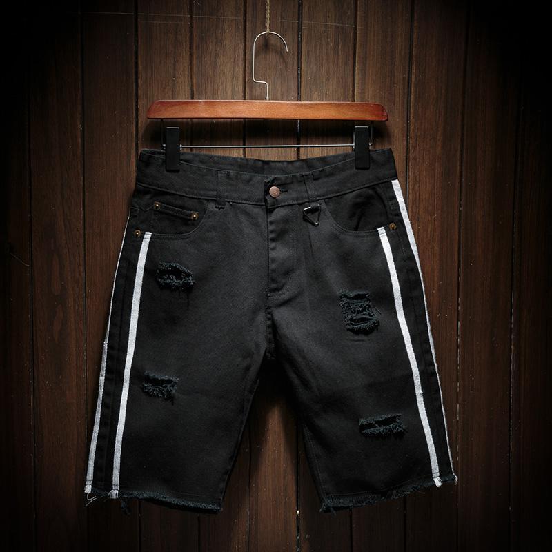 Men Black Short Jeans Holes Denim Shorts Summer Cotton Casual Knee Length Pants Beach Size 36 Men's