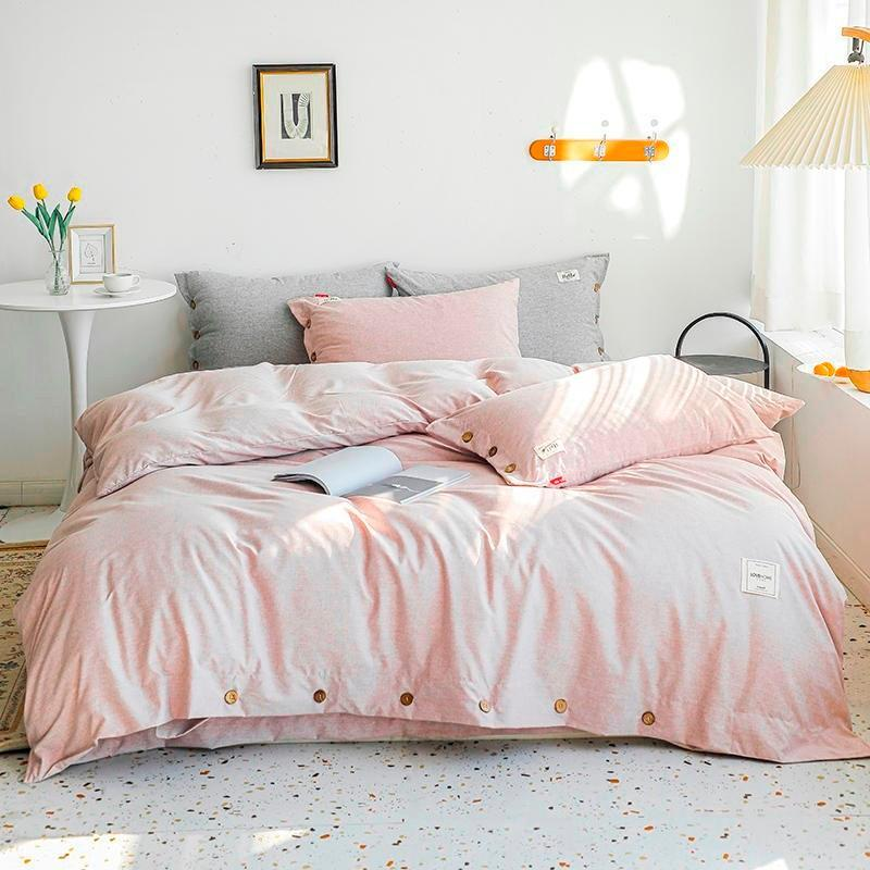 Bedding Sets Home Duvet Cover Set With Buttons Closure Twin Queen King Size 100% Cotton 4Pcs Solid Luxurious Soft Bed Sheet
