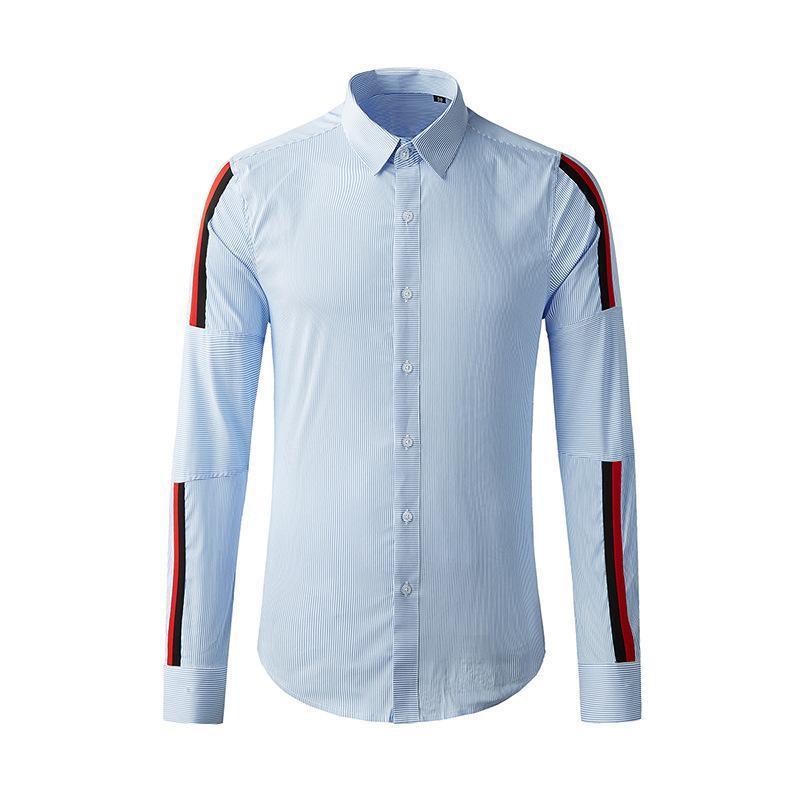 부티크 셔츠 하이 엔드 라이트 럭셔리 비즈니스 파란색과 흰색 줄무늬 인쇄 리본 스티치 패션 남자의 긴팔 캐주얼 셔츠
