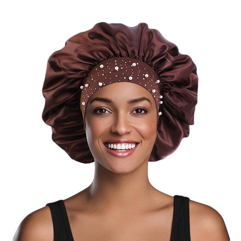 Ly Satin Woman Hat Night Cap Sleep Cap Rhinestone Спящая уход за волосами Салон Макияж Оголовье Мусульманская Голова Hijab Cover Cover Аксессуары