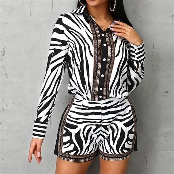 Women's Tracksuits 2 Women Zebra Print Buttoned Shirt and Zipper Shorts s Casual Piece Set Female Autumn Two Suit HAKR