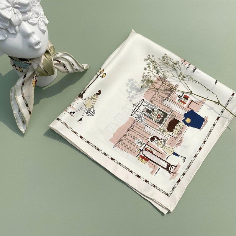 53 * 53cm 실크 스카프 여성 인쇄 작은 광장 뽕나무 성격 간단한 전문 장식 스카프