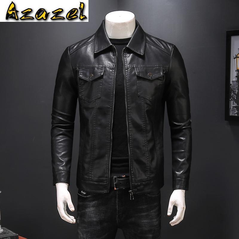 Casaco de couro do outono do outono do animal do homem dos homens para homens chaquetas en cuero casaco masculino casual casaco masculino multi-bolso roupas